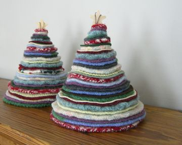 Recycled Sweater Trees Tutorial...these are so cute, must make several. Love them!