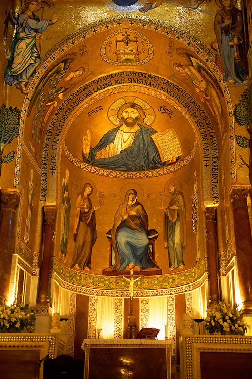 Byzantine mosaics at the Palatine Chapel ( Capella Palatina ) Norman Palace Palermo, Sicily, Italy. Christ above the Altar. Pictures of Palatine Palace Chapel, Palermo, Sicily - Download as royalty free photos of buy photo wall art prints on line. Photographer Paul Williams.