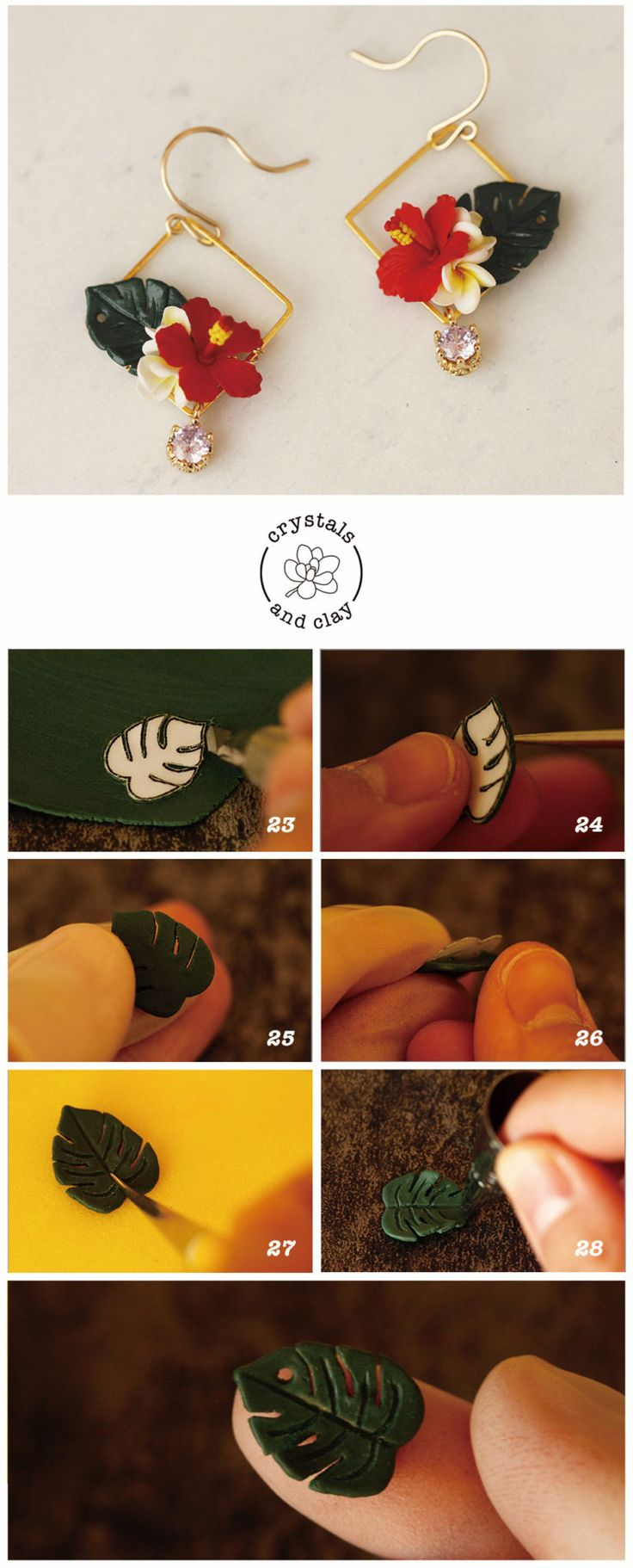 How to make polymer clay tropical flower earings