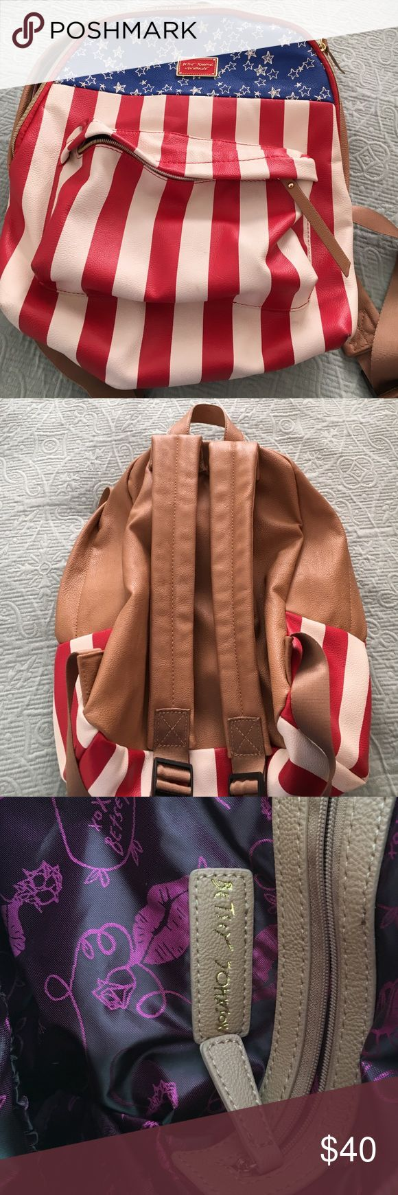 Betsy Johnson Original American Flag backpack Great backpack in mint condition. Leather with stars and strips. Roomy for your belongings and your kids Bags Backpacks