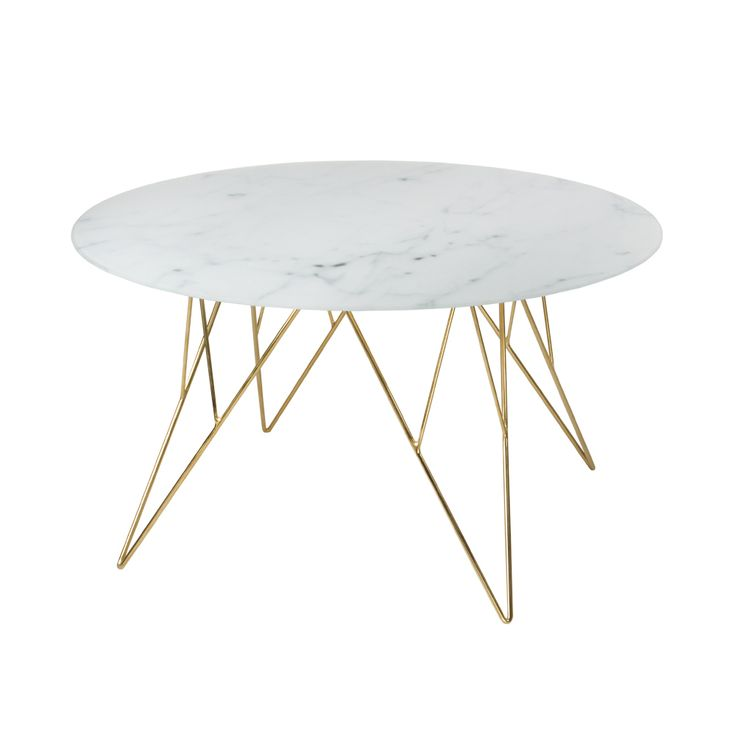 Mesa de centro Prunnus 80*80*45 Textura marmol / Metal dorado - tugocolombia