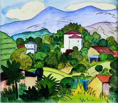 Hermann Hesse - Landschaft im Tessin - Aquarell 1924
