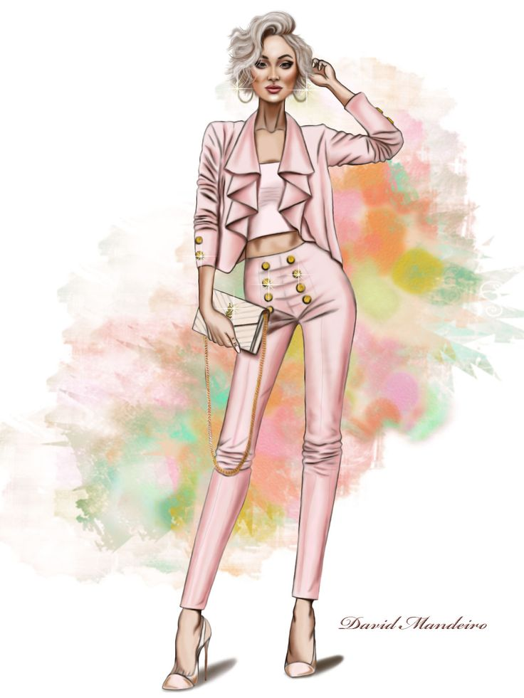 Micah Gianneli in a jacket and pant from Hotmiamistyles. #digitaldrawing by David Mandeiro Illustrations #MicahGianneli #fashionblogger #digitalart #Wacom