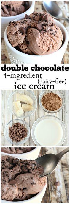 Double Chocolate ice cream, made dairy free with only 4 ingredients: plántano congelado, chips de chocolate, chocolate en polvo y leche de almendras