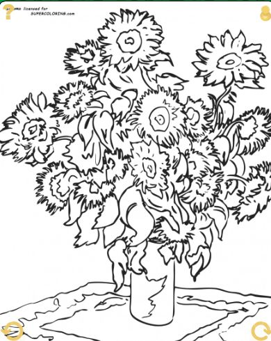 sunflowers by claude monet coloring page - Monet Coloring Pages Water Lilies