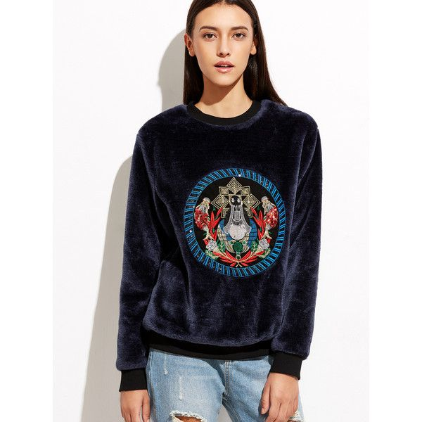 Navy Velvet Sweatshirt With Embroidered Detail ($33) ❤ liked on Polyvore featuring tops, hoodies, sweatshirts, navy blue pullover, navy pullover, vintage sweatshirts, vintage pullover and velvet top