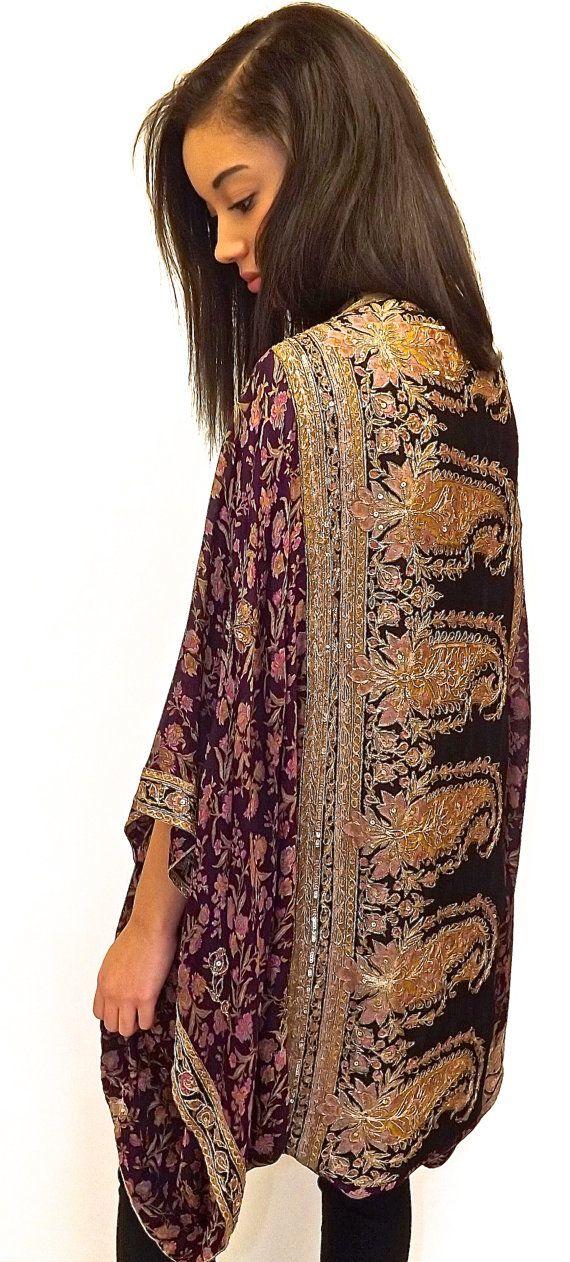 Pure Silk beaded Kimono jacket / Shrug/ cover up