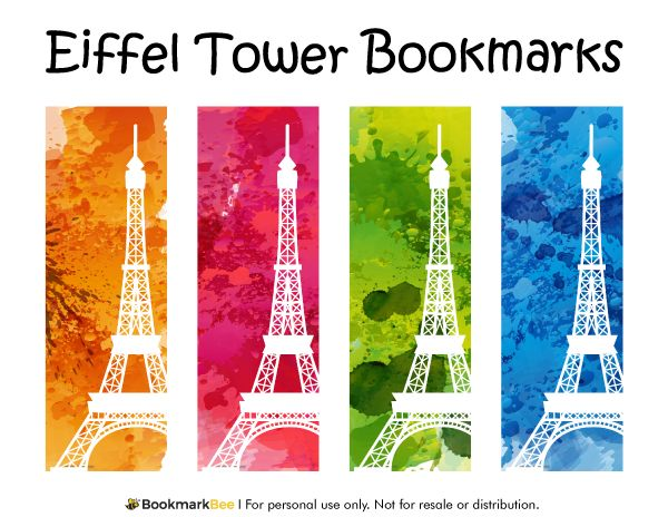 Free printable Eiffel Tower bookmarks. Download the PDF template at http://bookmarkbee.com/bookmark/eiffel-tower/