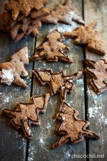 Vegan Gingerbread Chocolate Cookies - Chocochili