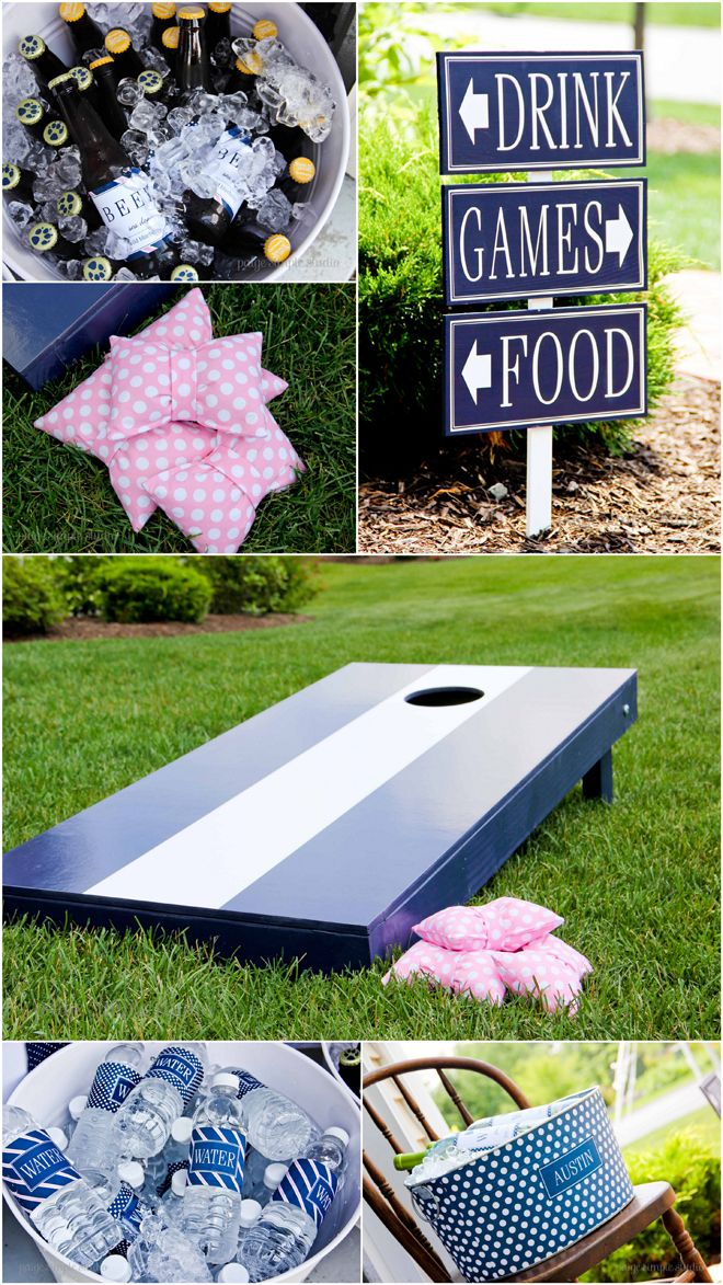 Adorable Pink & Navy Preppy Tie Party! The cornhole bags are BOW TIES!!!!!!!!!