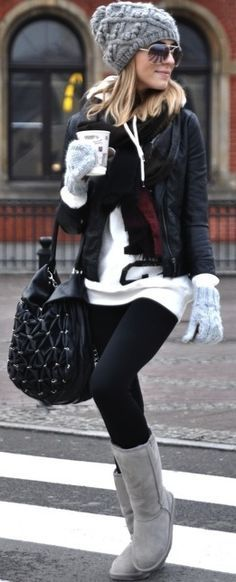 This is definitely my signature outfit in the winter, minus the Uggs (leather boots for me). Oversized sweaters with leggings FTW