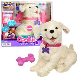 "Hasbro Year 2010 FurReal Friends My Playful Pup Series 12 Inch Tall Interactive Plush Puppy Dog - COOKIE with Squeaky Toy Plus Interactive Feature Like Bark, Wagging Tail and More by Hasbro. $73.99. For age 4 and up. Produced in year 2010. Plush puppy measured approximately 12 inch tall. Require 4 ""C"" Batteries (Temporary Ones Included). Includes: COOKIE with Squeaky Toy Plus Interactive Feature Like Bark, Wagging Tail and More. With real-as-can-be sounds and mo..."