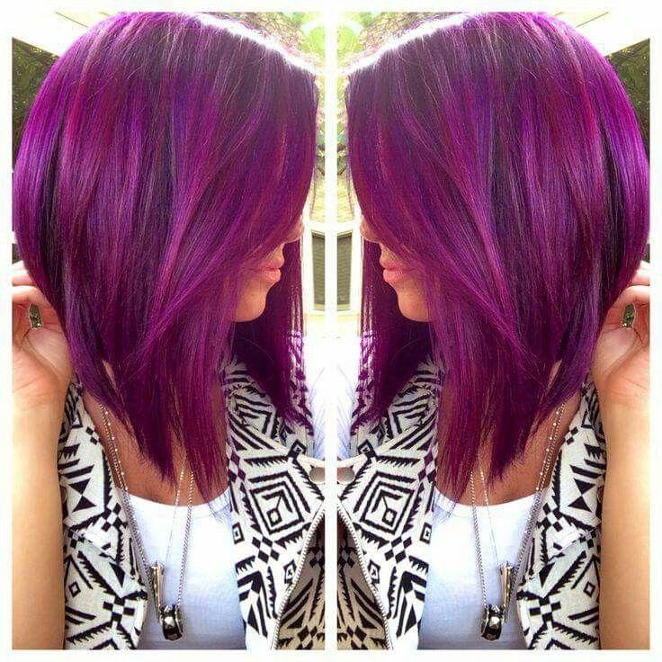 Purple magenta / wild orchid long angled bob