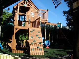 Jungle Gym. See More. The Two Story Play House, Plus The Climbing Wall, And  Swings