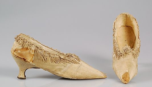 """""""Marie Antoinette's Slippers""""  Paper label: """"Worn by Maria Antonietta, late Queen of France at the time She was taken at Paris"""""""