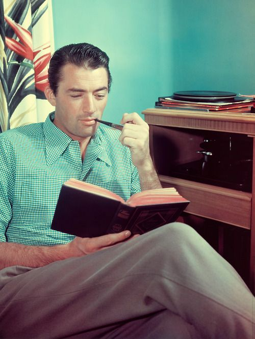 Gregory Peck, perfect man, reads.