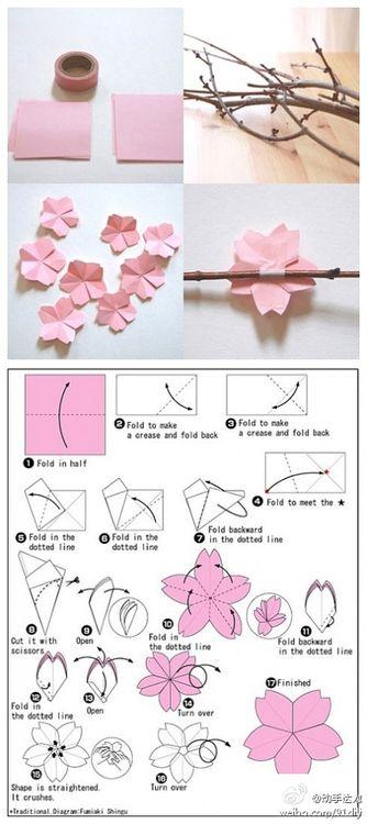 -Tutorial: flor de cerezo de papel-         Que cosa más chula... Creo que nunca sacaré la fuerza de voluntad ni la paciencia para ponerm...