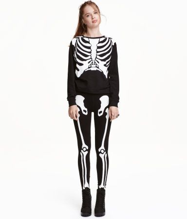 Jersey Leggings | Black/skeleton | Ladies | H&M US