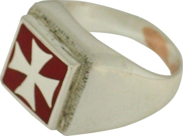 Gioielli Templari medievali : Anello croce Templare argento