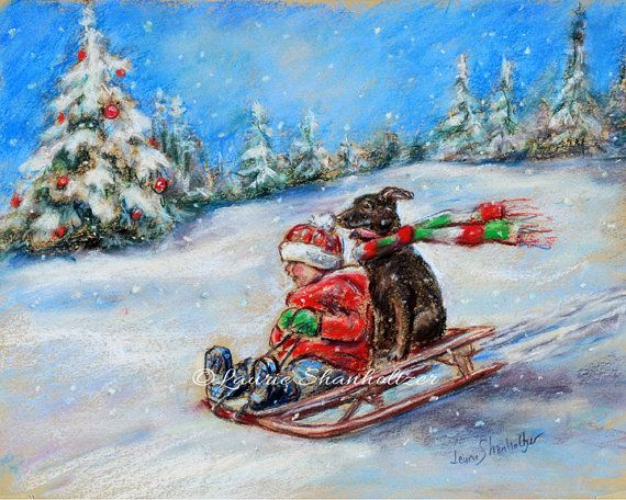 Winter scene, Christmas, snow, child and dog, sledding, original pastel painting 11x14 by LaurieShanholtzer Pure joy!! ,,,,You and your best friend sledding across the Christmas snow! ~