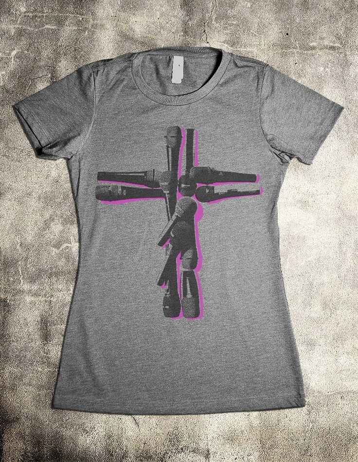 """Worship Band T-Shirt Series -- """"Make a joyful noise unto Jehovah, all ye lands."""" - Psalm 100. Whether you're a female vocalist in the worship band, a worship leader, or simply a Christ Follower that loves Christian music, this shirt is designed especially for you."""