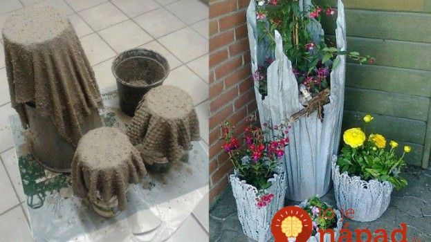 Unikátne kvetináče do záhrady z betónu a látky