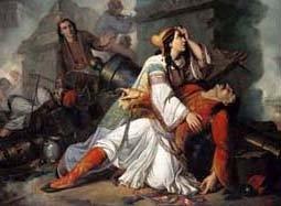 Nτονάτο Φραντσέσκο ντε Bίβο, «O θάνατος του Λάμπρου Tζαβέλα» (λεπτομέρεια), πριν το 1855, λάδι σε μουσαμά, 107x132 εκ.