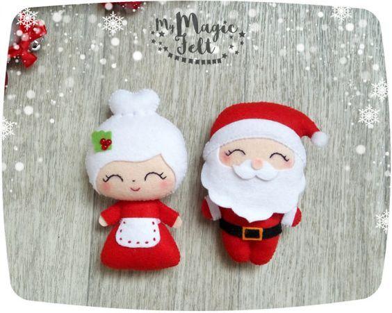 Christmas ornaments Santa and Mrs Claus ornament felt Santa ornament for Christmas tree decorations Christmas accents Xmas decorations