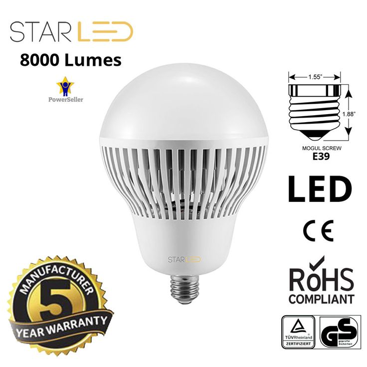 StarLED 400W Equivalent High Bay LED Light Bulb Ballast Bypass E39 Mogul 8000lm #StarLED