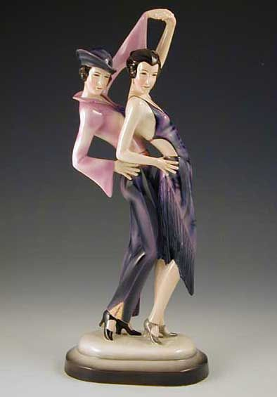 Goldscheider Dakon Art Deco Ceramic Figurine of Two Dancing Girls