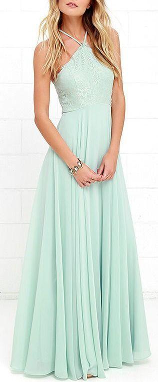 L51 Halter Mint Prom Gowns,Mint Chiffon Bridesmad Dress, Charming Lady Dresses