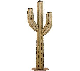 Desert Steel 6.5' Saguaro Garden Cactus Statueand Tiki Torch