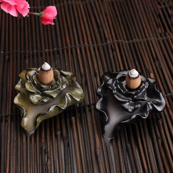 FREE SHIPPING, Creative Flowing Water Ceramic Smoke Backflow Cone Incense Burner Lotus Pond Vaporizer Home Decoration Censer