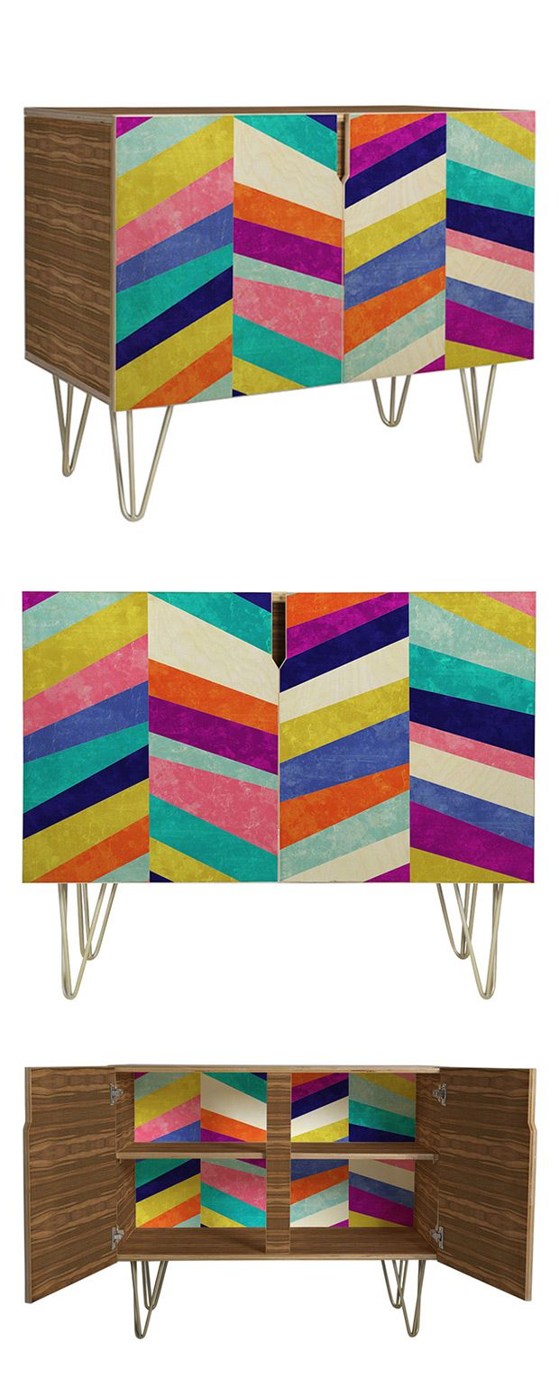 What's to be done with a vintage-inspired piece blessed with a vibrantly whimsical design? Work with its chaotic appeal, of course! The Rainbow Revival Credenza celebrates color with a dazzling display...  Find the Rainbow Revival Credenza, as seen in the 3 Ways to Get That Summer Mod Collection at http://dotandbo.com/collections/3-ways-to-get-that-summer-mod?utm_source=pinterest&utm_medium=organic&db_sku=116079