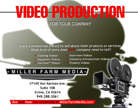 Miller Farm Media, an outstanding videography company in Irvine, CA, had me design this ad for a directory.
