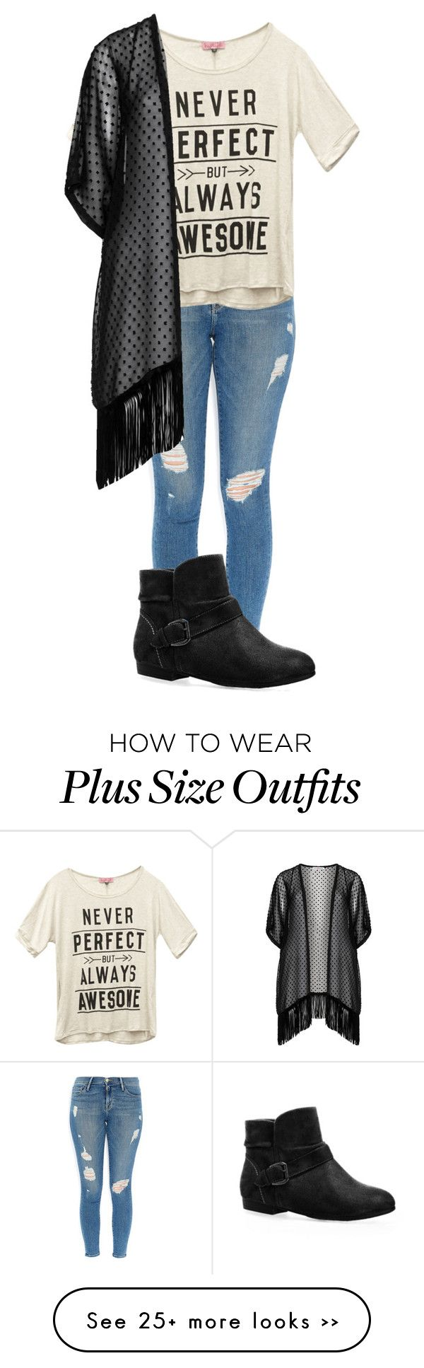 """""""Plus Size"""" by joannechan00 on Polyvore featuring Frame Denim, Wet Seal, Avenue and Maxima"""