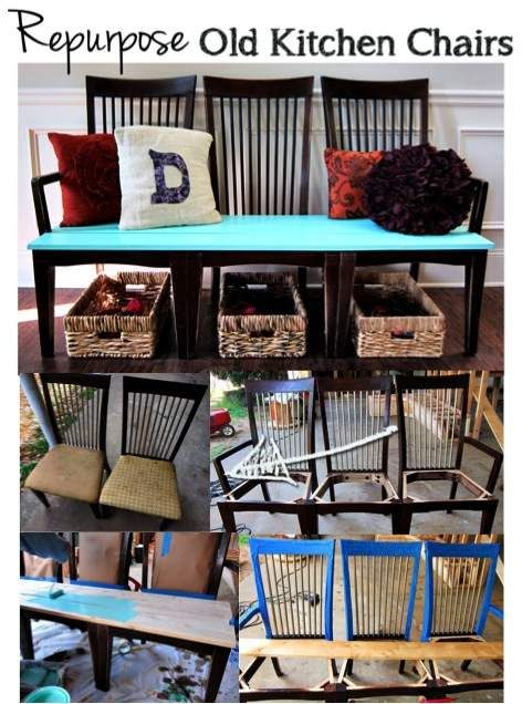 DIY Repurposed Chair Bench ...................FOLLOW DIY Fun Ideas ............BEST DIY SITE EVER!!