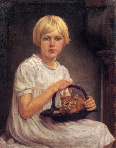 """Nerina Maria (detta Nera) Simi (Firenze 1890 – Firenze 1987),  """"Bimba bionda con gattino"""".    olio su tela di cm. 72,5 x cm. 57,5, firmato in alto a dx. Collezione BCC Pietrasanta."""