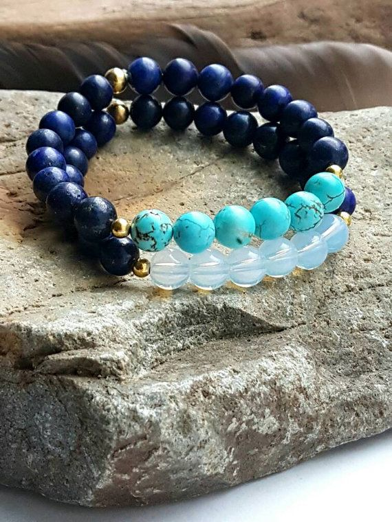 Check out this item in my Etsy shop https://www.etsy.com/ca/listing/481053150/opalite-royal-blue-agate-bracelet
