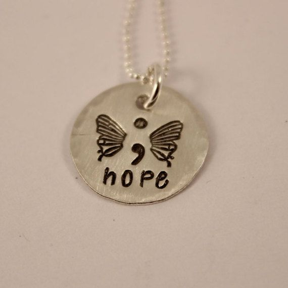 Hope - Hand Stamped Semi Colon Butterfly Necklace - Semicolon Necklace - Sterling Silver - Project Semicolon