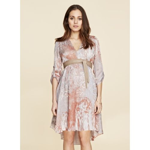 Lexington Silk Maternity Dress -  Copper Print
