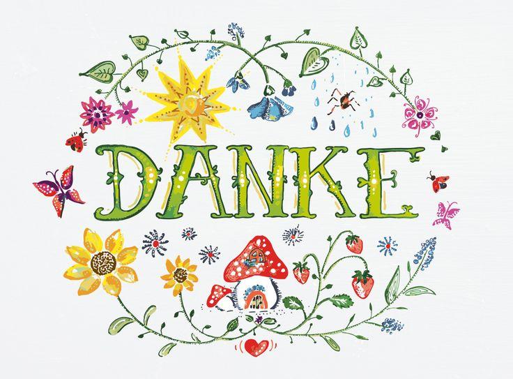 Grafikdesign Danke Karte. Lettering, Handdrawn and Illustrator