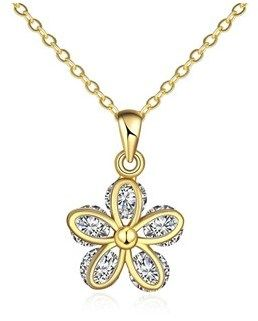 Vista Donna Jewelry 18k Gold Plated Pave Crystal Clover Necklace.