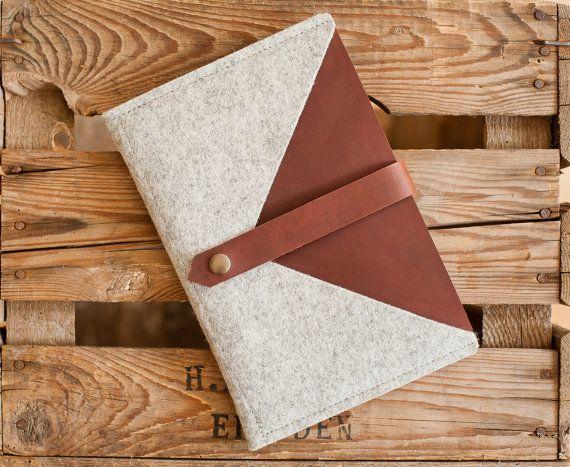 iPad mini Envelope Courier leather wool felt by TheNavis on Etsy
