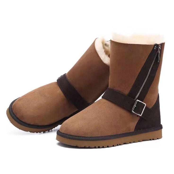 128.88$  Watch here - http://ali0xn.worldwells.pw/go.php?t=32753146345 - Luxury Winter Australia Snow Boots Sheepskin Boots Natural Wool Sheep Fur Boots Middle Zipper Buckle Cool Flat Women Boots