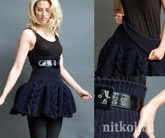 Вязаная юбка спицами с высоким поясом