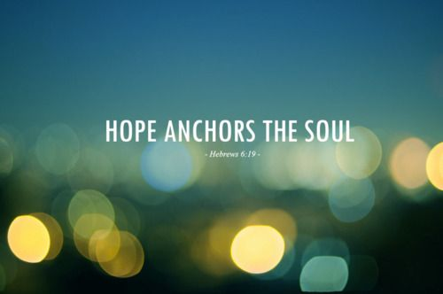 Bible verse ~ Hebrews 6:19 This hope we have as an anchor of the soul, both sure and steadfast, and which enters the Presence behind the veil.