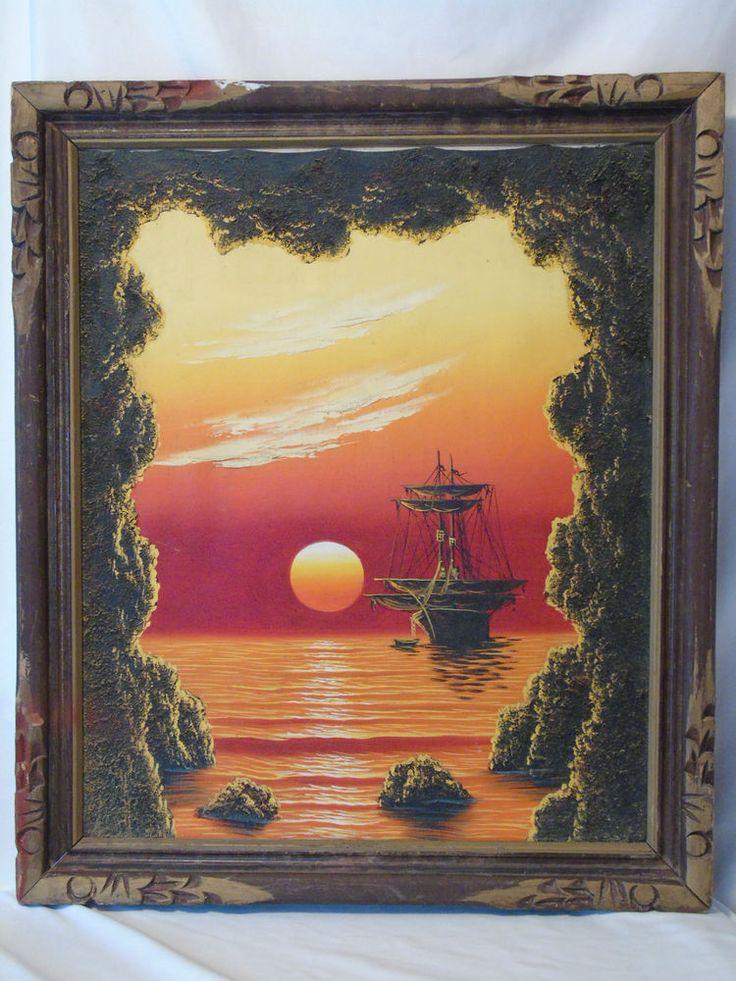 Vintage Original Oil Painting Clipper Ship thru Cave Sunset Marine Seascape O/C