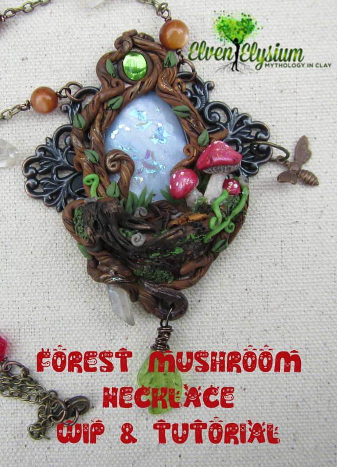 Got crafter's block?  Join me on a journey through my craft junk drawer to create a polymer clay mushroom forest scene necklace.  Step by step process shown!