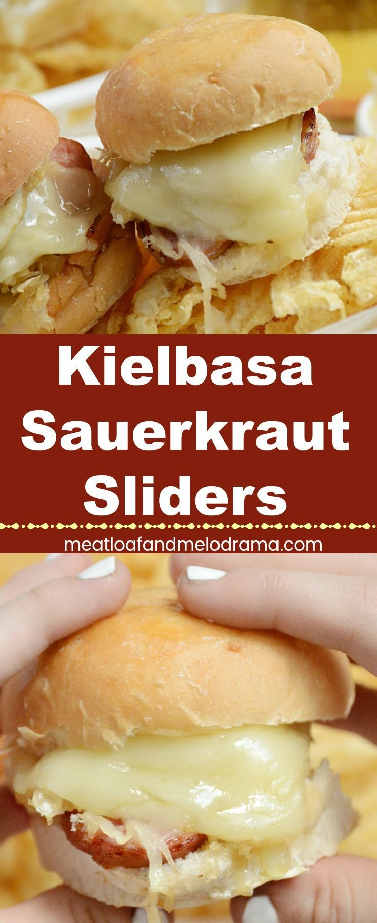 Kielbasa Sauerkraut Sliders -  Mini sandwiches made with smoked Polish sausage, sauerkraut and melted provolone cheese. Perfect for an easy dinner or game day food! from Meatloaf and Melodrama #easydinner #gameday